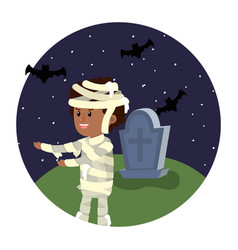 Boy with mommy costume in the halloween cementery vector