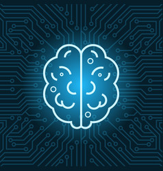 brain shape icon over blue circuit motherboard vector image