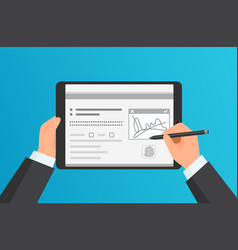 Businessman hands signing digital signature on vector