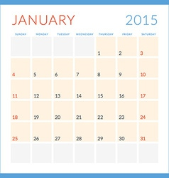 Calendar 2015 flat design template January Week vector