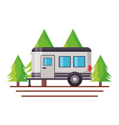 Camper trailer trees vector