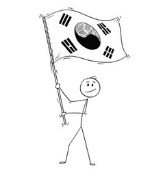cartoon of man waving the flag of republic of vector image