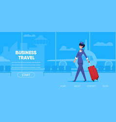 cartoon woman stewardess in uniform with suitcase vector image