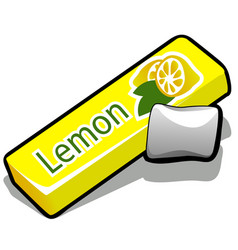 Chewing gum with lemon flavor isolated on white vector
