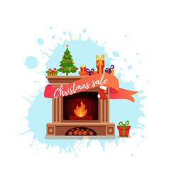 Christmas fireplace room interior in colorful vector