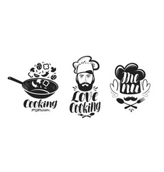 Cooking cuisine logo label set for design menu vector