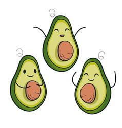 cute avocado characters set vector image