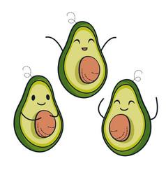 Cute avocado characters set vector