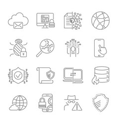 data protection and security network icons set vector image