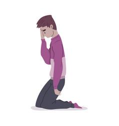 Depressed desperate guy standing his knees mental vector