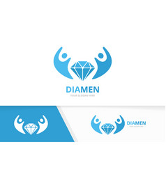 diamond and people logo combination vector image