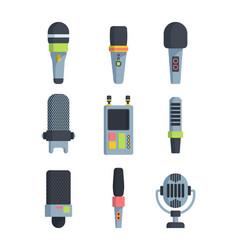 different microphones flat vector image