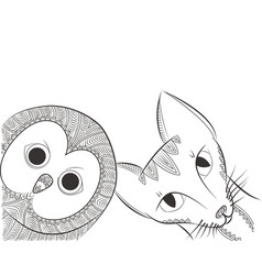 doodle owl and cat head vector image