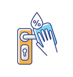 Door knob disinfection rgb color icon vector
