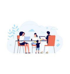 family with gadgets network concept mom vector image