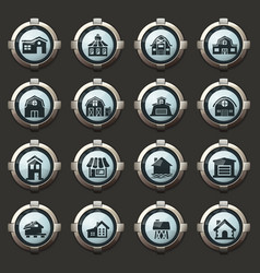 farm building icons set vector image