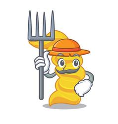Farmer fusilli pasta character cartoon vector