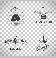 Fight club logos on transparent background vector