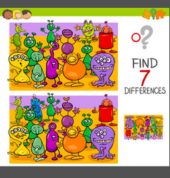 find differences with alien characters vector image