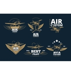 Flight adventures logos and labels vector