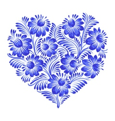 Floral decorative ornament heart vector