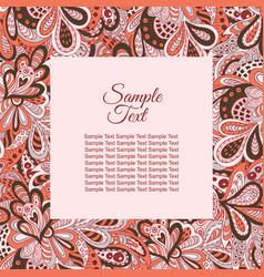 Floral doodle ethnic pattern frame pastel tones vector
