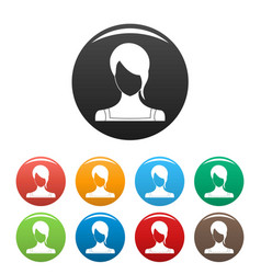 girl avatar icons set color vector image