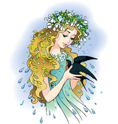 Girl-Spring with swallow vector