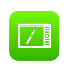 graphics tablet icon digital green vector image