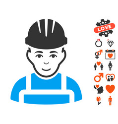 Happy mechanic icon with dating bonus vector