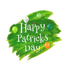 happy patrick day text with blot vector image