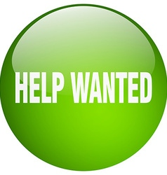 Help wanted green round gel isolated push button vector