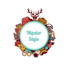 hipster doodle icons circle on white vector image