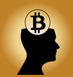 human head silhouette with sign of bitcoin inside vector image