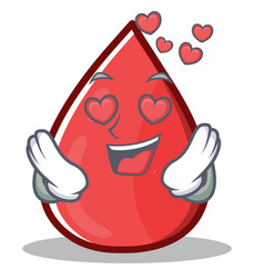 In love blood drop cartoon mascot character vector