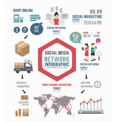 Infographic Social Business template design vector image