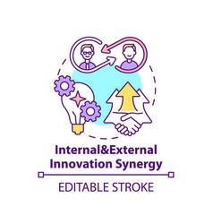Internal and external innovation synergy concept vector