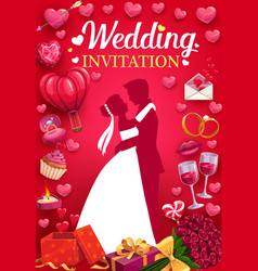 Invitation to wedding party bride and groom love vector