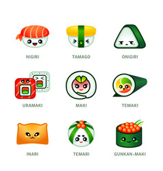 Kawaii sushi bar icons vector