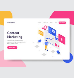 landing page template of content marketing vector image