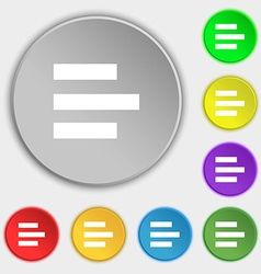 Left-aligned icon sign Symbols on eight flat vector
