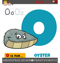 Letter o from alphabet with oyster animal vector