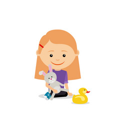 little girl with toy rabbit vector image