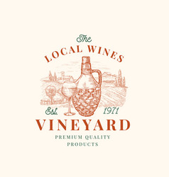 Local wines vineyard retro badge or logo template vector