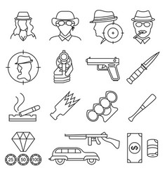Mafia and gangster signs black thin line icon set vector