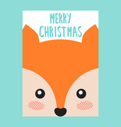 Merry christmas postcard with cute fox or squirrel vector