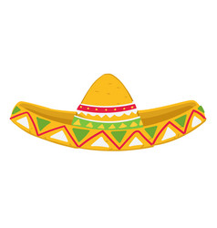 Mexican hat with ornaments sombrero headwear with vector
