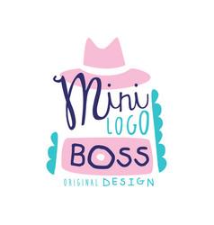 Mini boss logo creative design with broad-brimmed vector