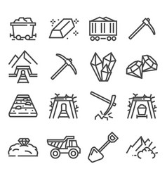 Mining industry outline icons extraction of vector