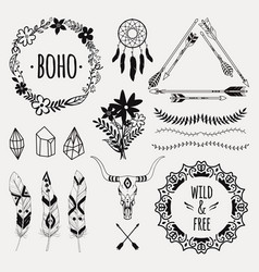 monochrome ethnic set with arrows feathers vector image